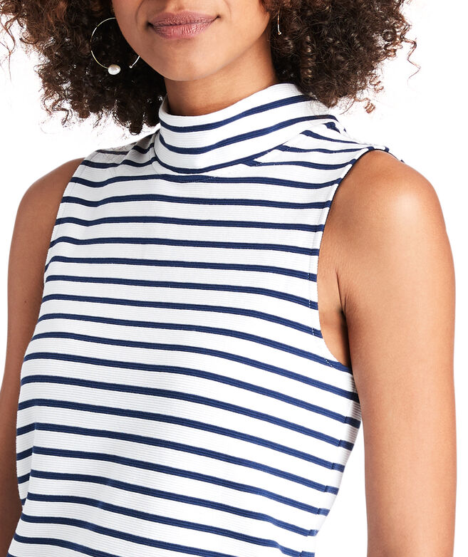 Classic Stripe Mock Neck Pullover