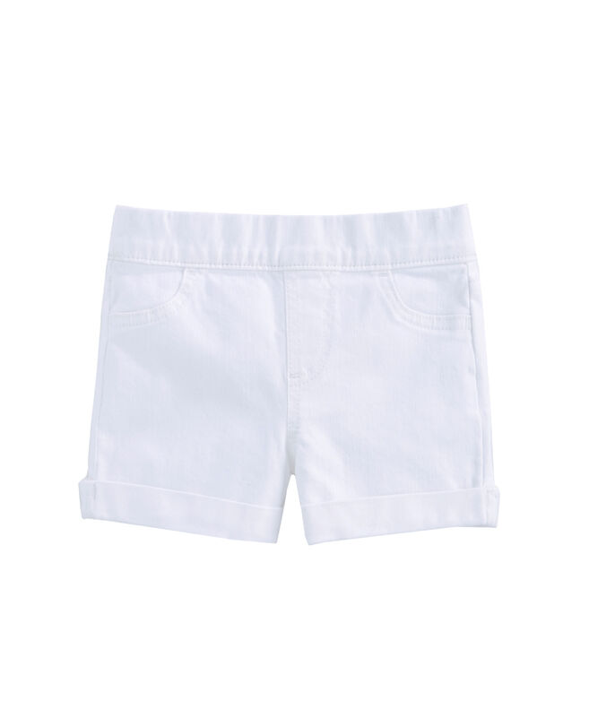 Girls White Denim Pull-On Jegging Shorts
