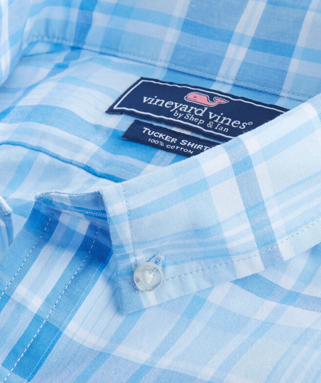 Short-Sleeve Rocky Creek Plaid Slim Tucker Shirt