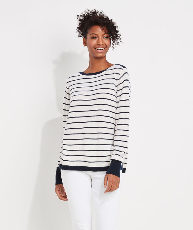 Striped Lofty Cashmere Boatneck Sweater