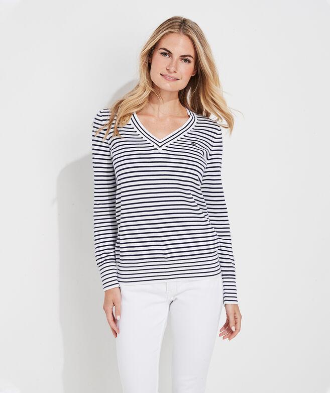 Striped Heritage Cotton V-Neck Sweater