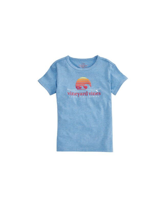 Girls Sunset Surf Heather Ringer Tee