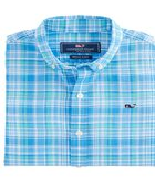 Boys Beach Tartan Short-Sleeve Whale Shirt