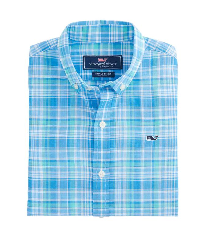 Boys Beach Tartan Short-Sleeve Whale Shirt