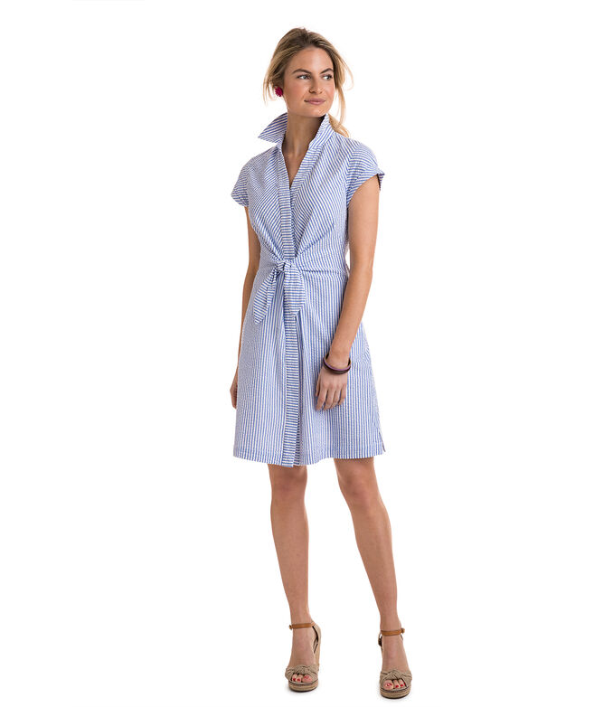 Tie Front Seersucker Shirt Dress