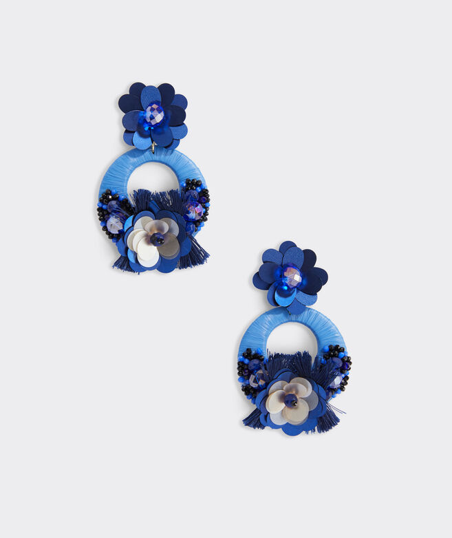 Floral Beaded Raffia Earrings