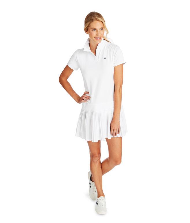 Short-Sleeve Pleated Golf Polo Dress