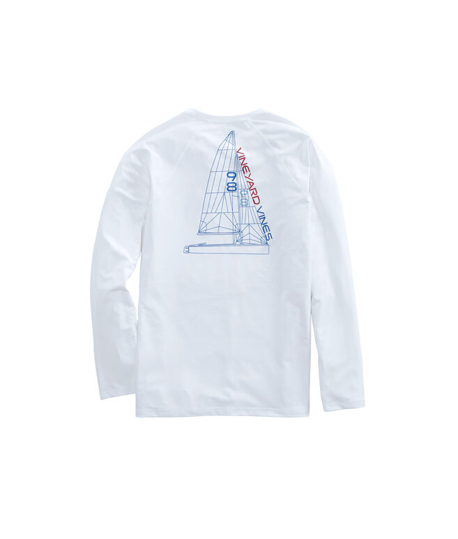 Long-Sleeve Performance Raglan Blueprint Sail T-Shirt