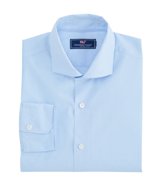 Blue Micro Check Spread Collar Greenwich Shirt