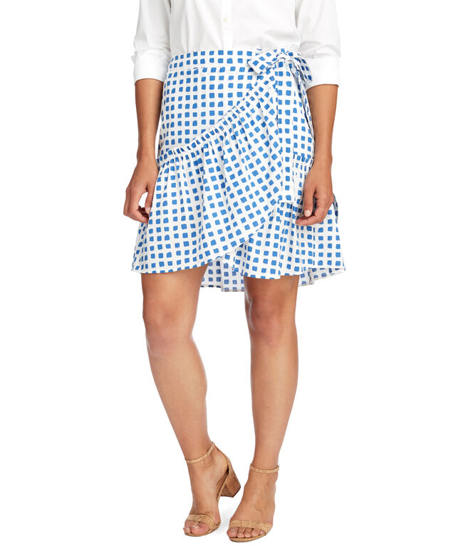 Painterly Grid Wrap Skirt