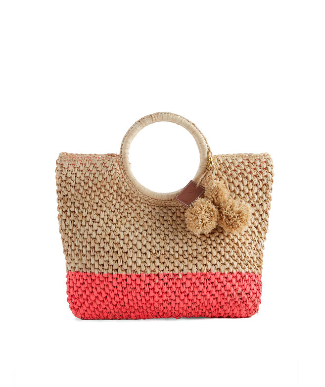 Neon Dipped Straw Tote