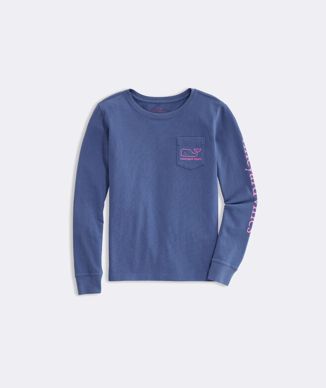 Girls' Long-Sleeve Glow In The Dark Pocket Tee