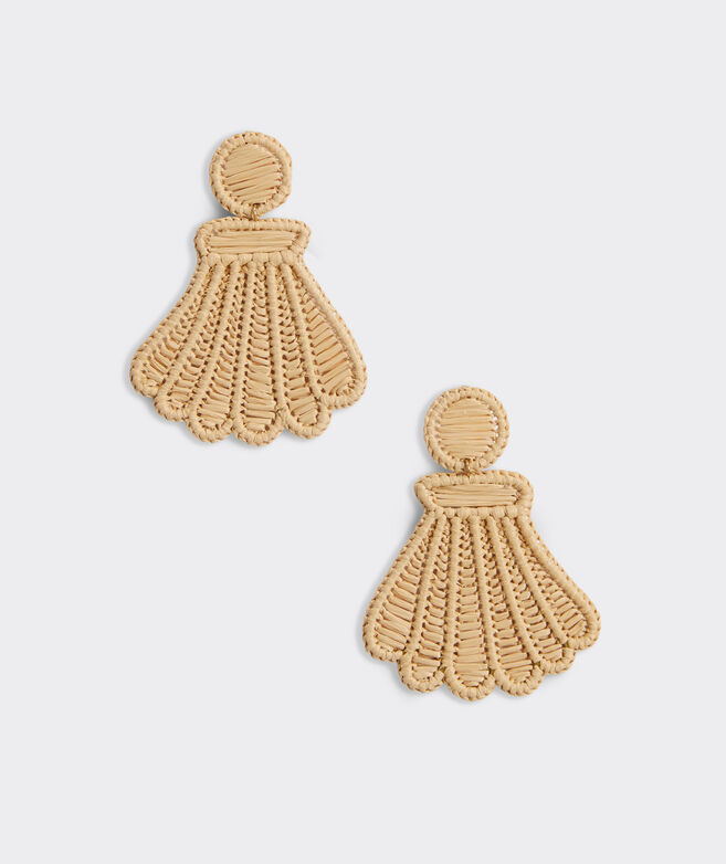 Raffia Scallop Shell Earrings