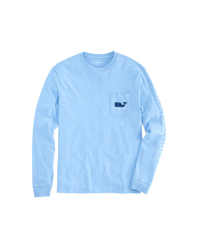 Mini Snowflakes Whale Fill Long-Sleeve Pocket Tee