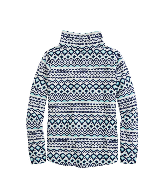 OUTLET Women's Printed Fairisle Sweater Fleece Funnel-Neck