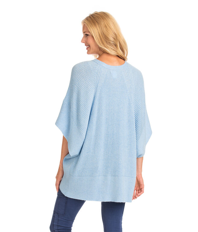 Ribbed Sweater Poncho