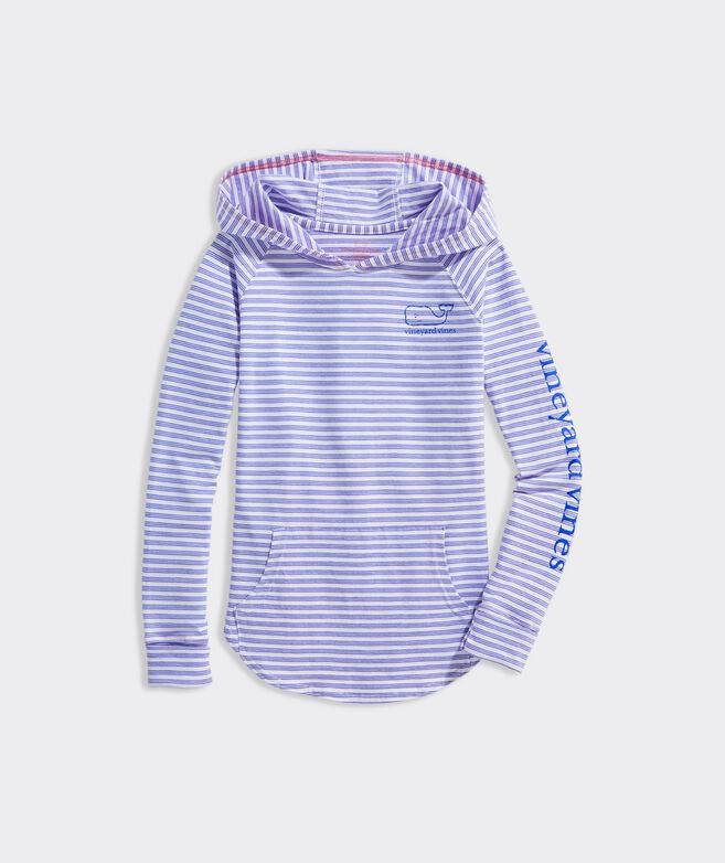 Girls' Beachcomber Stripe Vintage Whale Hoodie Tee