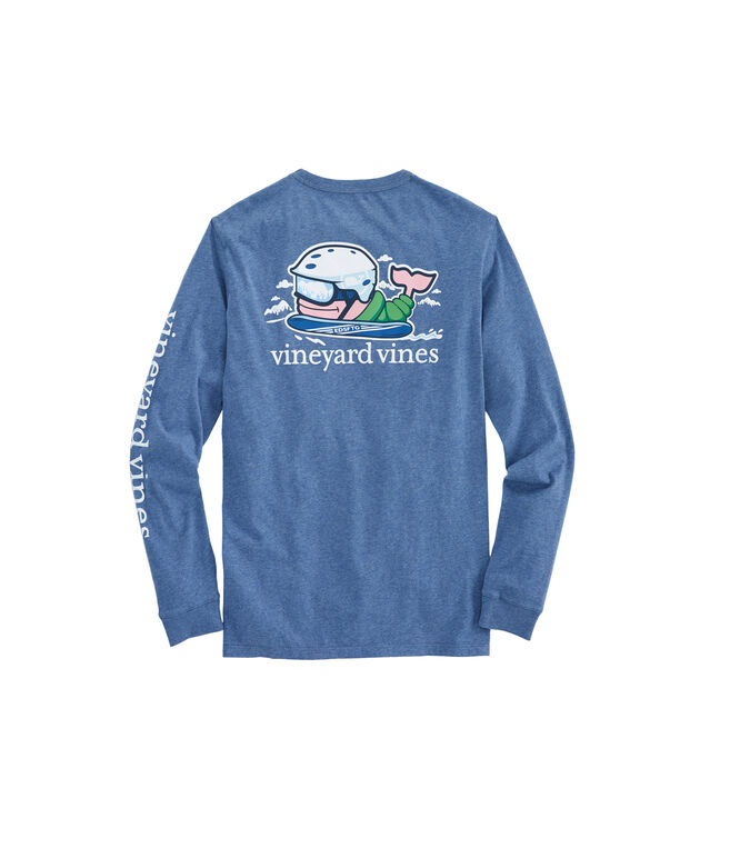 Long-Sleeve Heathered Send It Whale Pocket T-Shirt