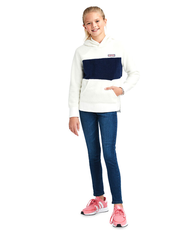 Girls Fuzzy Color-Block Hi-Lo Hoodie