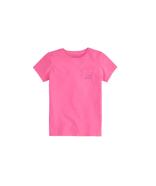Girls Garment Dyed Vintage Whale Short-Sleeve Pocket Tee