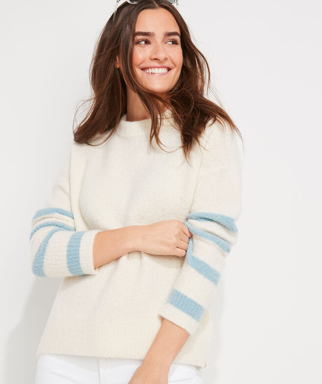 Cashmere Boucle Stripe Sleeve Crewneck Sweater