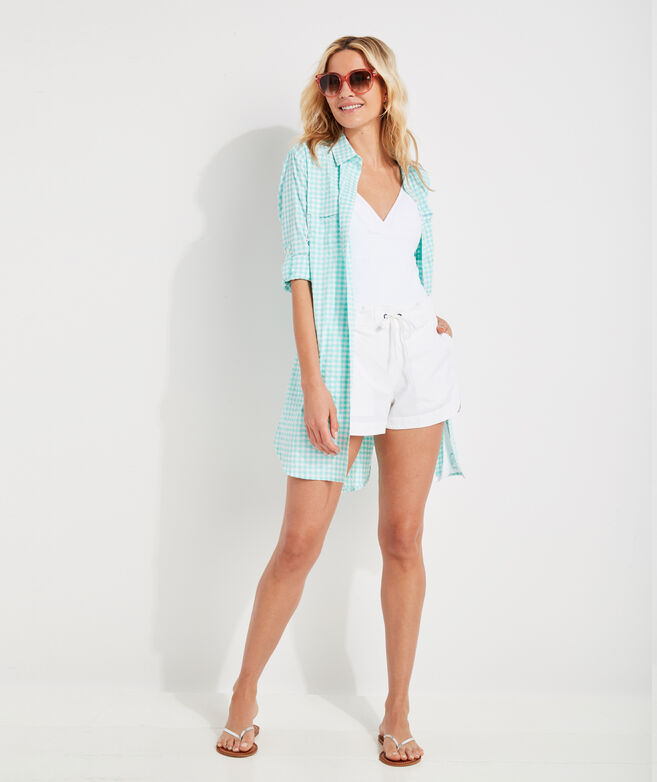Gingham Harbor Shirt Cover-Up