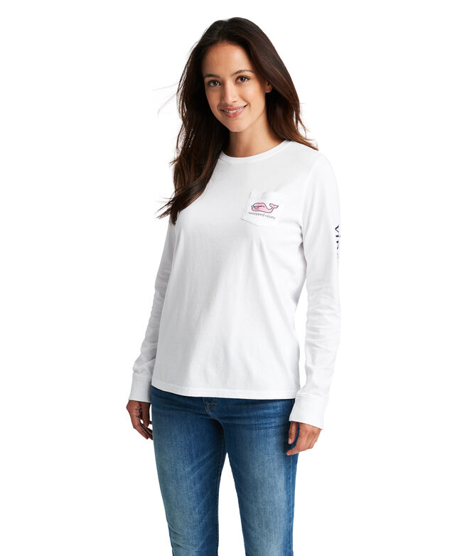 Long-Sleeve 4th Of July Whale Pocket Tee