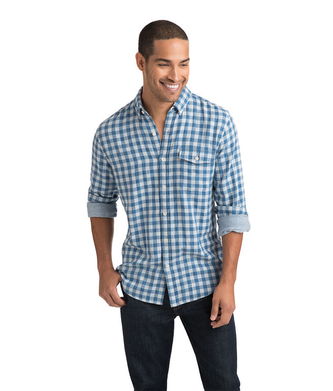 Blue Heron Gingham Slim Crosby Shirt