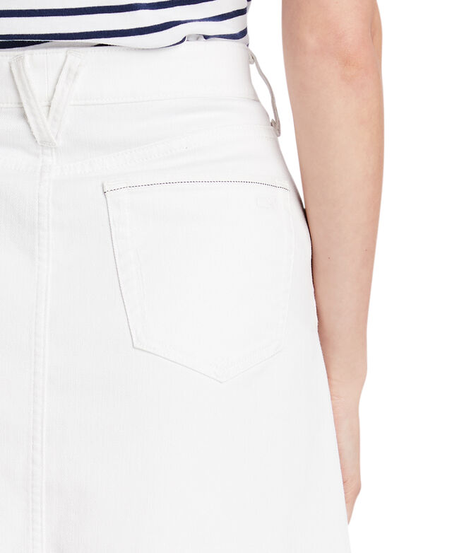 Raw Hem White Jean Skirt