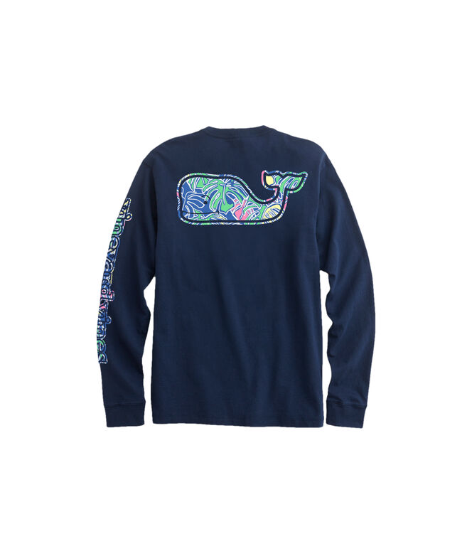 OUTLET Colorful Tropics Whale Fill Long-Sleeve Pocket Tee