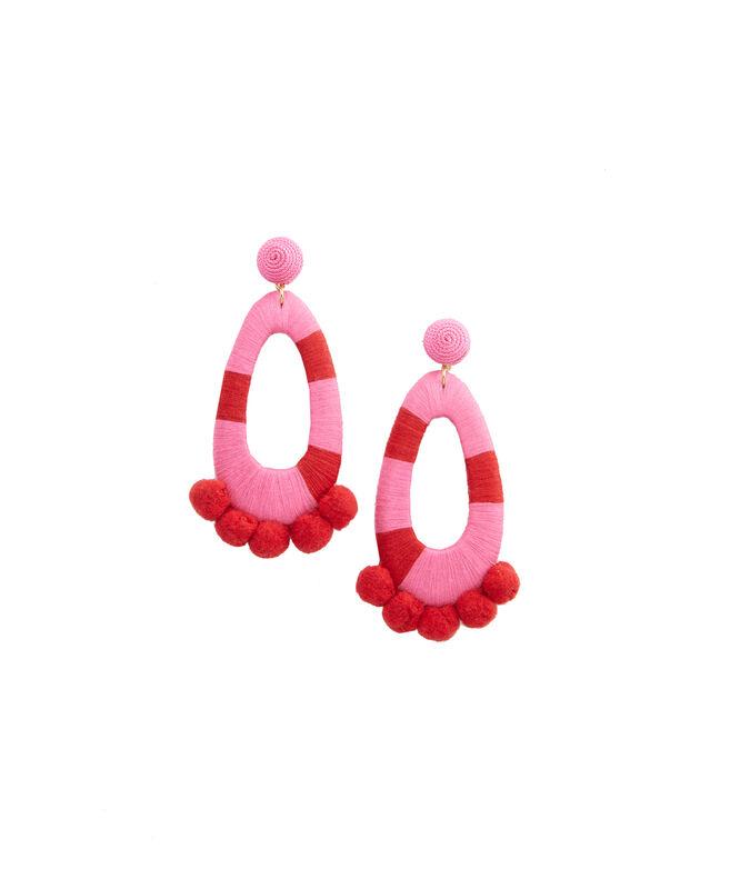 Wrapped Pom Pom Earrings