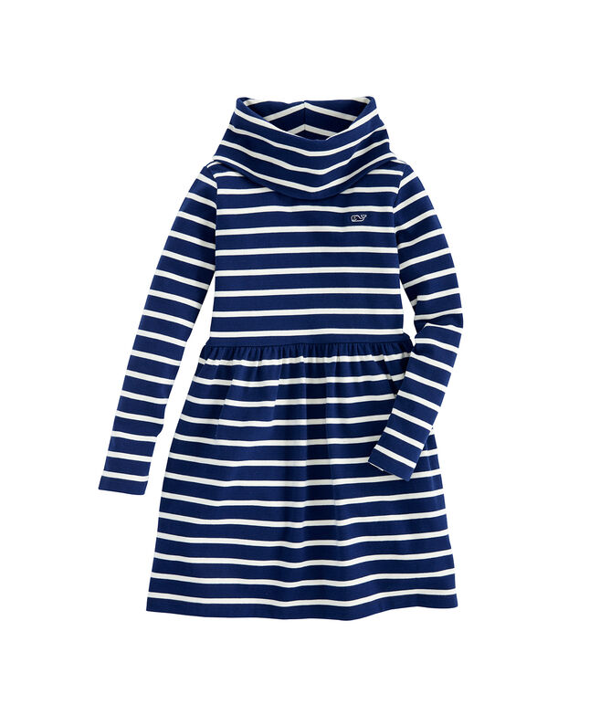 Girls Funnel Neck Stripe Knit Dress (Little Girl)
