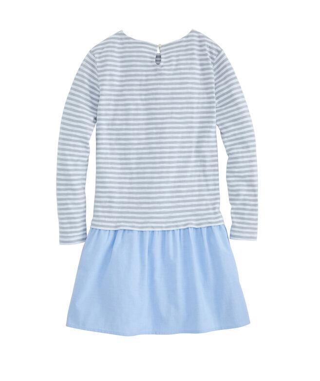 Girls Mixed Media Slub Jersey Striped Dress
