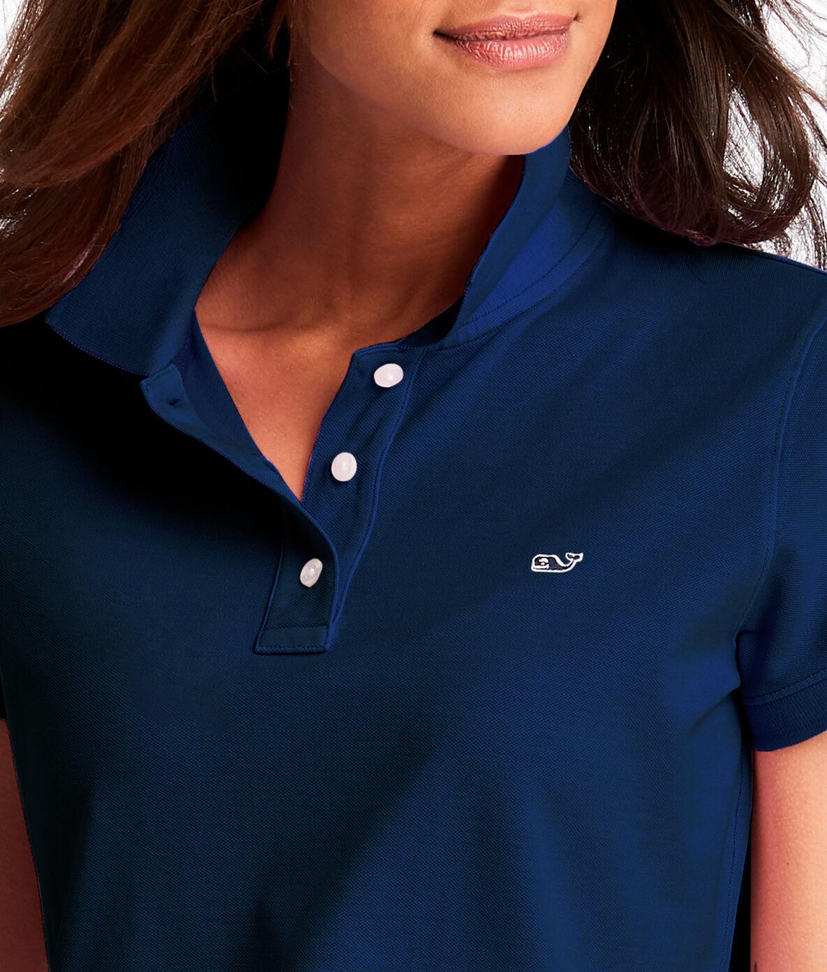 Vineyard Vines Women/'s Polo Shirt Large NWT Short Sleeves Nautical Navy Blue L