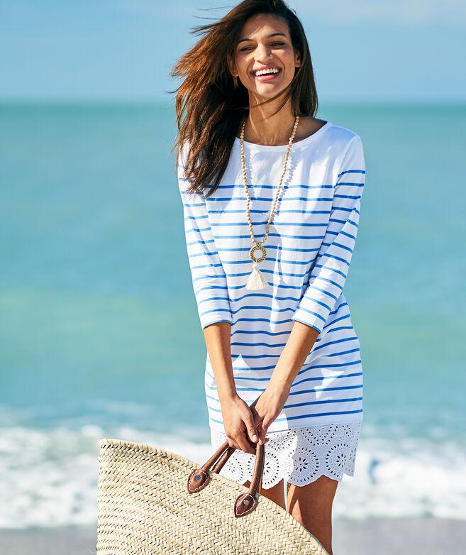 Long-Sleeve Stripe Knit Lace Hem Dress