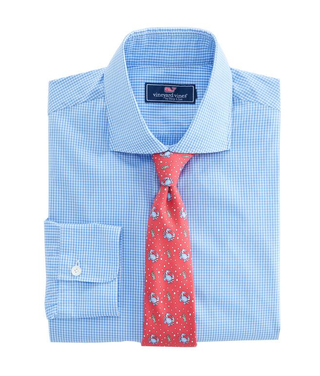 Blue Gingham Spread Collar Greenwich Shirt