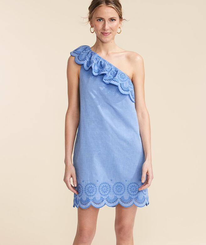 One-Shoulder Eyelet Dress