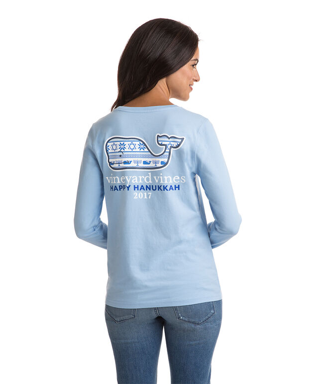 Long-Sleeve Hanukkah Whale Pocket Tee