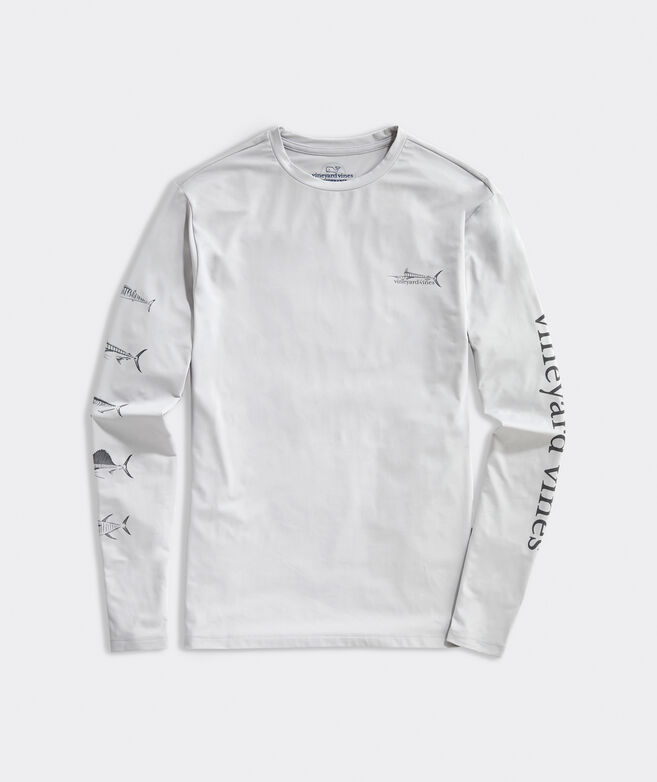 Tonal Fish Long-Sleeve Performance Harbor Tee