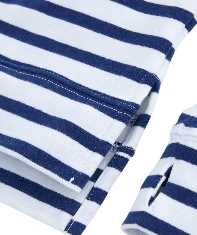 Girls Long-Sleeve Sandpiper Stripe Vintage Whale Snap Popover