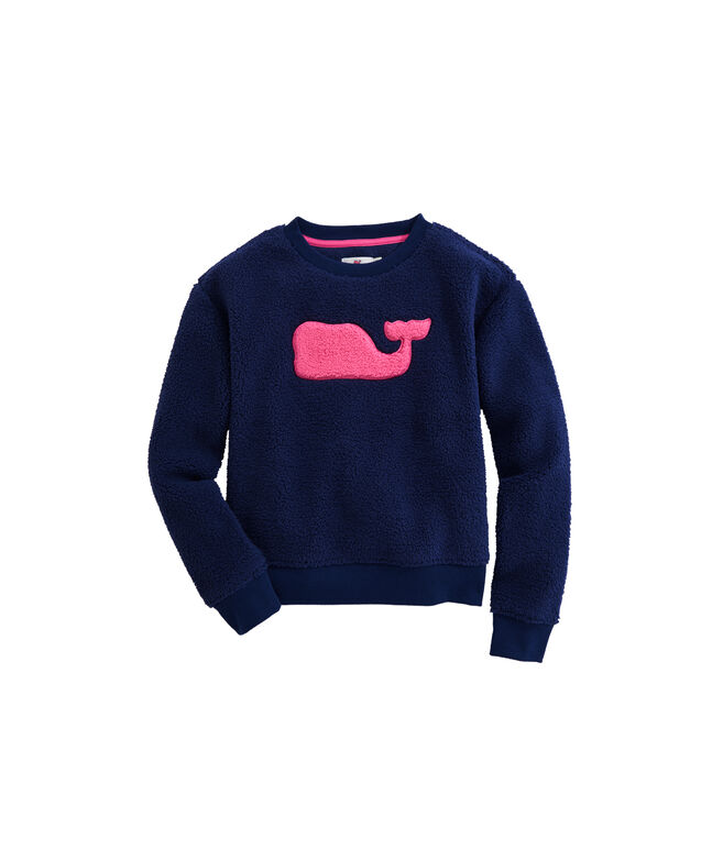 OUTLET Girls' Fuzzy Applique Whale Sweatshirt