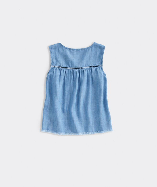 Girls' Chambray Ladder Lace Top
