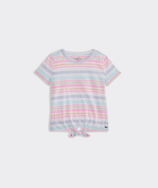 Girls' Seaspray Stripe Tie Short-Sleeve Tee