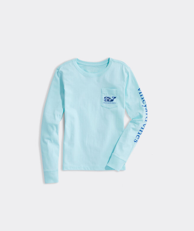 Girls' Among The Flowers Whale Long-Sleeve Pocket Tee