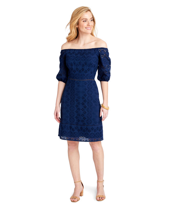 Open Neck Eyelet Fit And Flare Dress