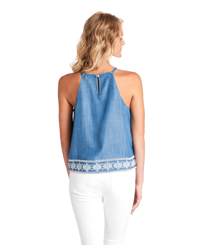 Shoreline Embroidered Chambray Top