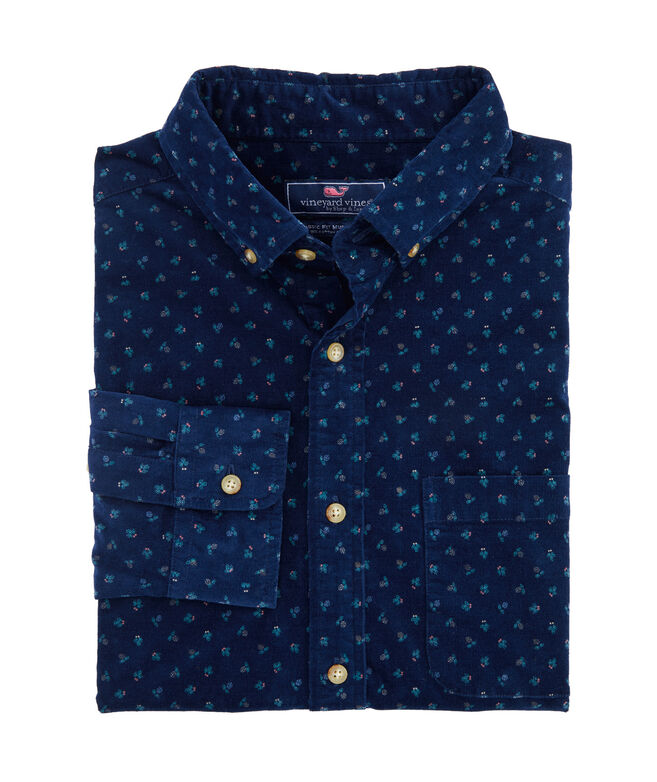 Classic Fit Cones and Berries Corduroy Murray Button-Down Shirt