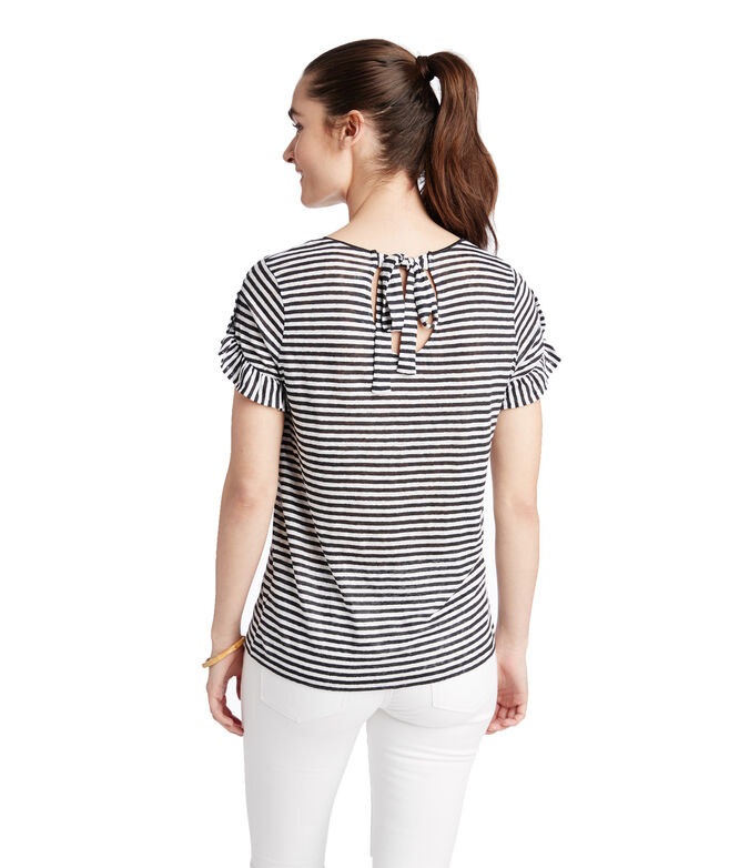 Short-Sleeve Striped Linen Ruffle Tee