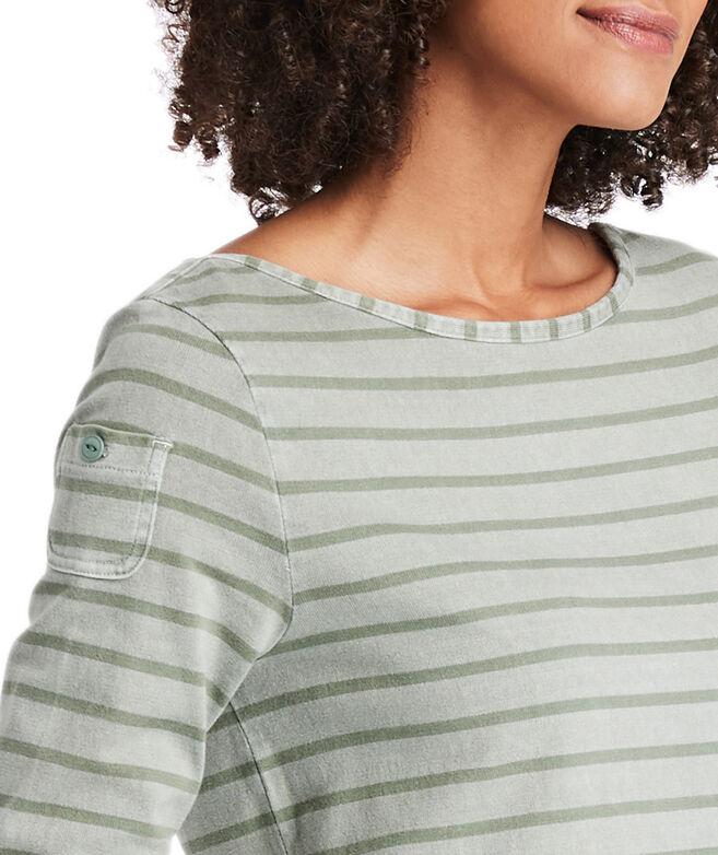 Garment-Dyed Striped Long-Sleeve Knit Dress