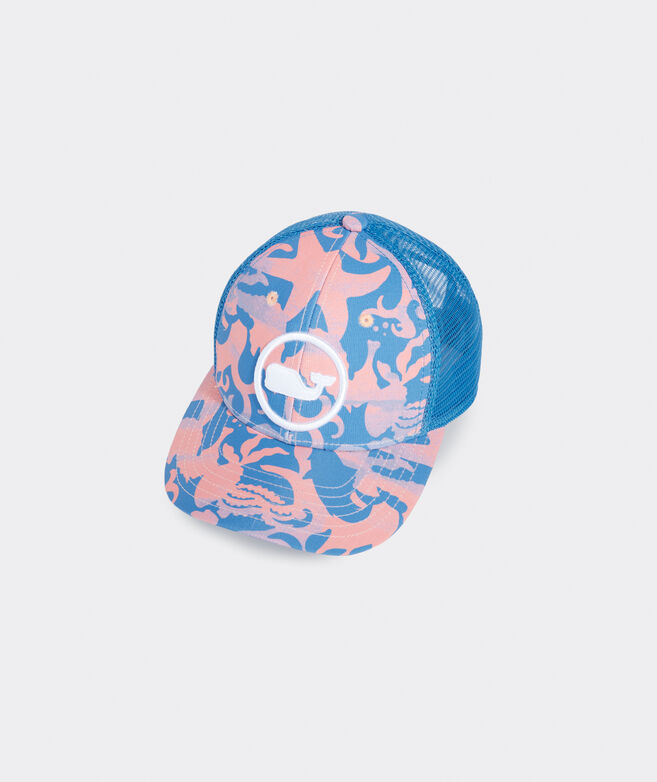 Boys' Watercolor Sea Life Whale Dot Trucker Hat